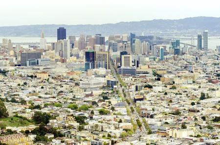 lesbienne: Vue a�rienne du centre-ville de San Francisco toits de la ville, Californie, �tats-Unis d'Am�rique.