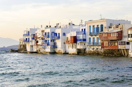 the little venice: Little venice, aka Lefkandra, mikri Venetia a landmark of Chora in greek island Mykonos, Greece. Picturesque coffee shops and restaurants overlooking the aegean with colourful balconies hanging over the blue sea.