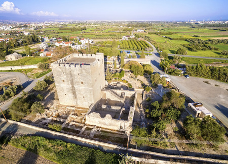 polis: Aerial view of the medieval castle of Kolossi. It is situated in the south of Cyprus, in Limassol. The castle dates back to the crusades and it constitutes a landmark of the area.