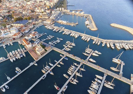 palio: Aerial view of the beautiful Marina in Limassol city in Cyprus, the beach, boats, piers, villas, commercial area, old port (palio limani) and Molos. A very modern, high end and newly developed space where yachts are moored and its perfect for a waterfron