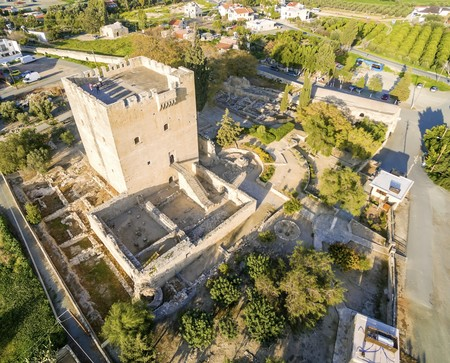 Aerial view of the medieval castle of Kolossi. It is situated in the south of Cyprus, in Limassol. The castle dates back to the crusades and it constitutes a landmark of the area.