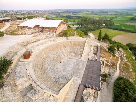 Aerial view of the arcaeological site of the ancient city of Kourio which is located in the district of Limassol, Cyprus. A view from the top of the greek roman theatre forming a semicircle, the beach and fields. Reklamní fotografie