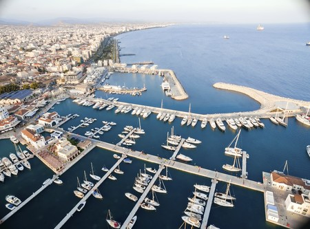 colonade: Aerial view of the beautiful Marina in Limassol city in Cyprus, the beach, boats, piers, villas, commercial area, old port (palio limani) and Molos. A very modern, high end and newly developed space where yachts are moored and its perfect for a waterfron