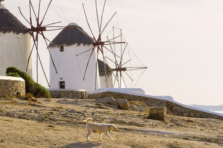 Three windmills in Chora, Mykonos, Greece. Very traditional greek whitewashed architecture, a popular landmark and tourist destination on the island of winds against the deep blue sky and the Aegean sea. The wind mills are now decorative. Stock Photo