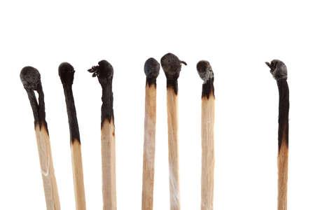 various burnt matchstick