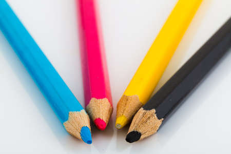 CMYK colored pencils Stock Photo