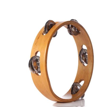 tambourine: pandereta aislado en blanco Foto de archivo