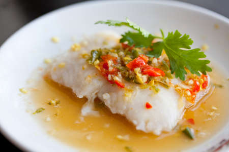hot and spicy steamed fish Stock Photo