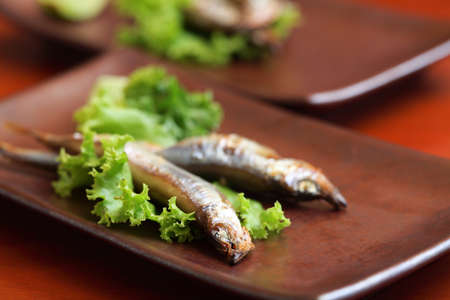 japanese shishamo smelt stuffed with eggs  Stock Photo