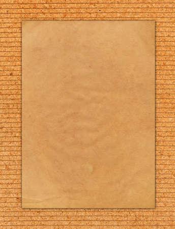 Vintage paper on striped corkboard