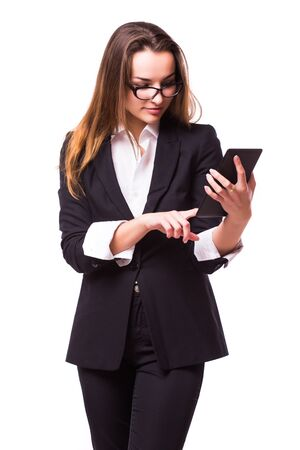 bussinessman: Young and attractive business woman in glasses isolated on white. Thinking and successful look.