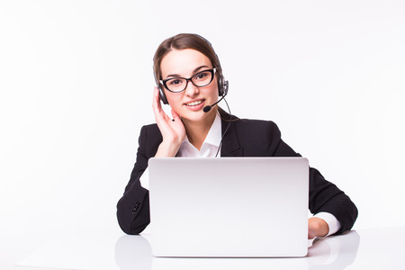 people on computers: Beautiful business operator of call center isolated on white background