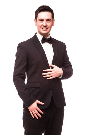 the showman: The Showman  interviewer. Young elegant man holding microphone against white background.Showman concept.
