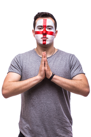 englishman: Pray for England. Englishman football fan pray for game England national team on white background. European football fans concept.