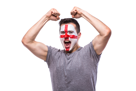 englishman: Victory, happy and goal scream emotions of Englishman football fan in game support of England national team on white background. European football fans concept. Stock Photo
