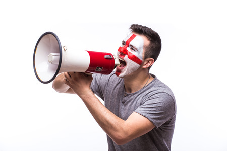 englishman: Scream on megaphone Englishman football fan in game supporting of England national team on white background. European football fans concept. Stock Photo