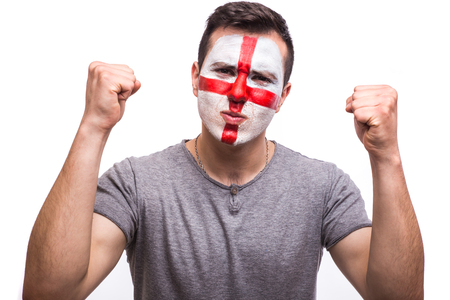 englishman: goal scream emotions of Englishman football fan in game support of England national team on white background. European football fans concept.
