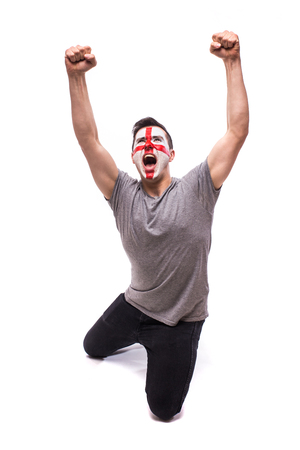 Victory, happy and goal scream emotions of English football fan in game support of  England national team on white background. European football fans concept.