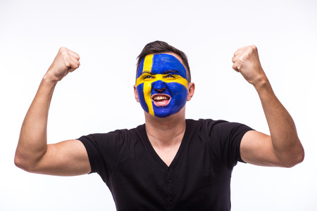 swede: Victory, happy and goal scream emotions of Swede football fan in game support of Sweden national team on white background. European football fans concept.
