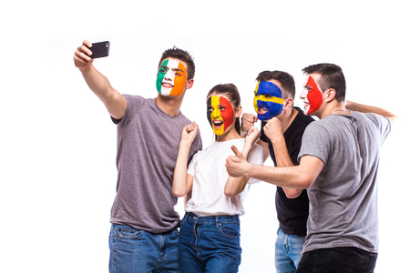republic of ireland: Group of football fans support their national team: Belgium, Italy, Republic of Ireland, Sweden take selfie photo on white background. European football fans concept.