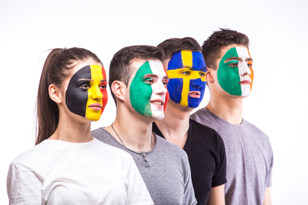 republic of ireland: Face portrait of football fans support their national team: Belgium, Italy, Republic of Ireland, Sweden on white background. European football fans concept.