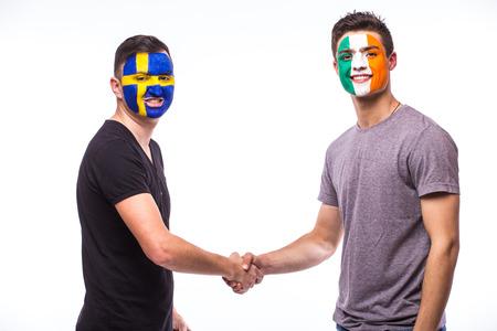republic of ireland: Sweden vs Republic of Ireland handshake of equal game on white background. European  football fans concept.