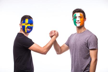 republic of ireland: Sweden vs Republic of Ireland handshake of before game on white background. European  football fans concept.