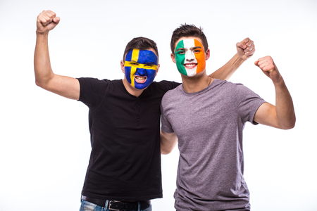 republic of ireland: Sweden vs Republic of Ireland on white background. Football fans of national teams celebrate, dance and scream. European football fans concept.