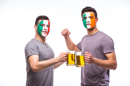 republic of ireland: Italy vs Republic of Ireland football fans drink beer on white background. European football fans concept.