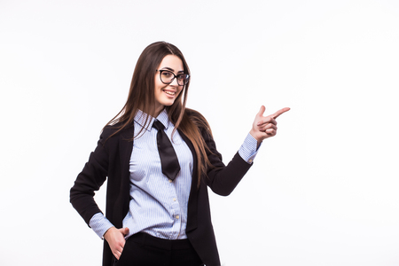 copyspase: Happy smiling young beautiful business woman showing something or copyspase for product or sign text, isolated over white background Stock Photo
