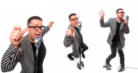 the showman: Showman concept. Singer with microphone on white background