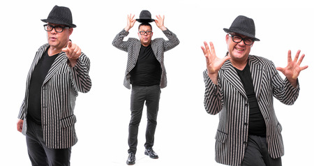 showman: Showman concept. Singer with microphone on white background