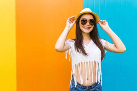 nice body: Young beauty girl with nice body against color wall background