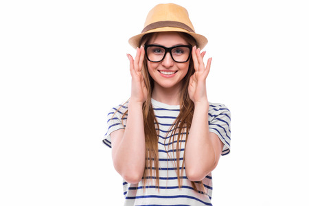 Young happy tourist  girl with hat and glasses on white backgrount