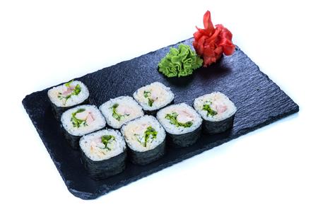 Sushi Set sashimi and sushi rolls. Restaurant food concept.