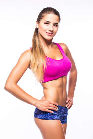 attractive fitness woman, trained female body,