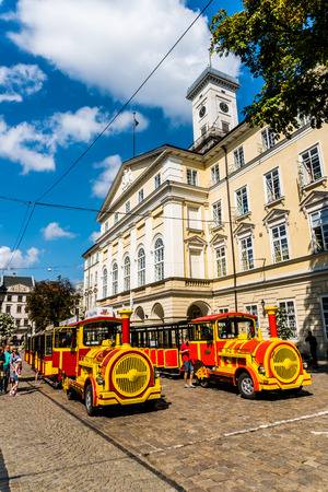 tramway: Lviv, Ukraine - 28 July 2016. Excursion tram