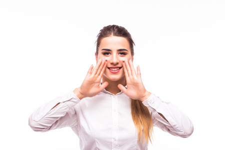 loudness: Business Woman Shouting - Isolated over a White Background