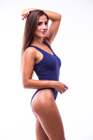 provocative woman: Attractive girl in swimsuit isolated on white