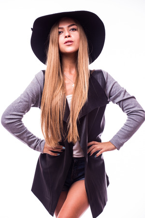 8920bde8638  64101238 - Beautiful young woman wearing summer black hat with large brim