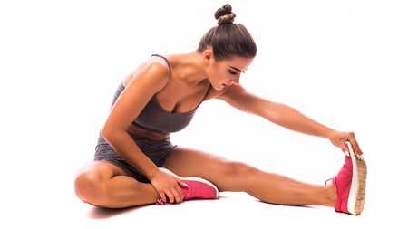 steep: Young woman doing sport exercise.