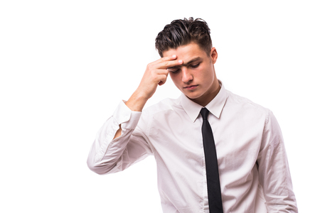 head pain: Man with head pain about business on white