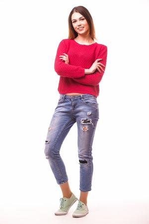 Girl full body on white Stockfoto