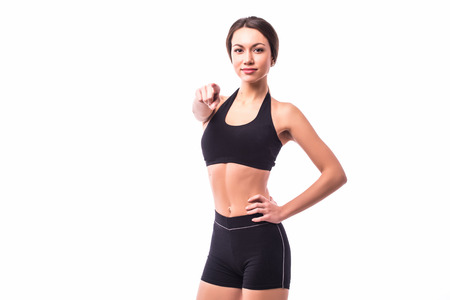 Sport girl pointed on you white background