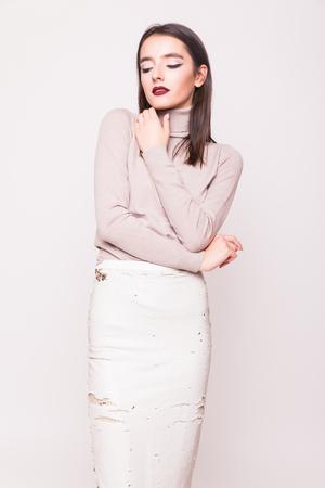 boobies: fashion glamor stylish beautiful funny crazy young woman model  isolated on white