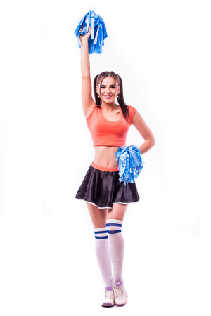 Cheerleader: Cute Woman Cheering With Poms In The Air Stock Photo