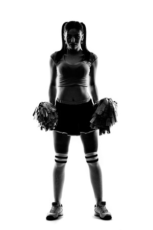 confortable: Sihlouette of cheerleader on white background