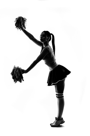 sihlouette: Sihlouette of cheerleader on white background