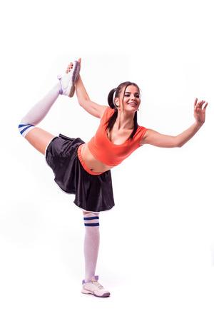 Cheerleader: Pretty Cheerleader  exercise Stock Photo