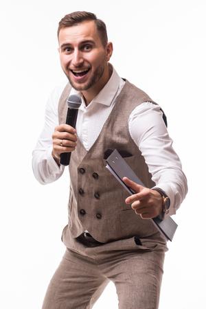the showman: Handsome showman on grey background. Showman concept.
